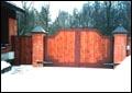 Въездные распашные ворота с калиткой.